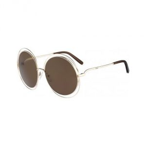 Chloe Carlina Round Sunglasses - Gold/Brown