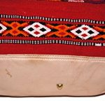 Moroccan Leather Recycled Kilim Rug Bag - Red
