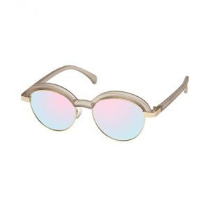 Le Specs Slid Lids Round Sunglasses - Stone/Gold