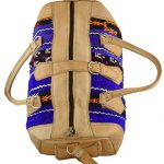 Moroccan Leather Recycled Kilim Rug Bag - Blue
