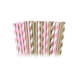 Pink Stripe and Chevron Paper Straws