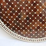Round Mosaic Tile Side Table - Brown