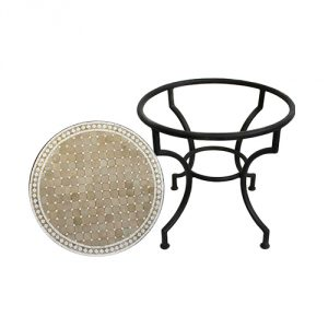 Round Mosaic Tile Side Table - Beige