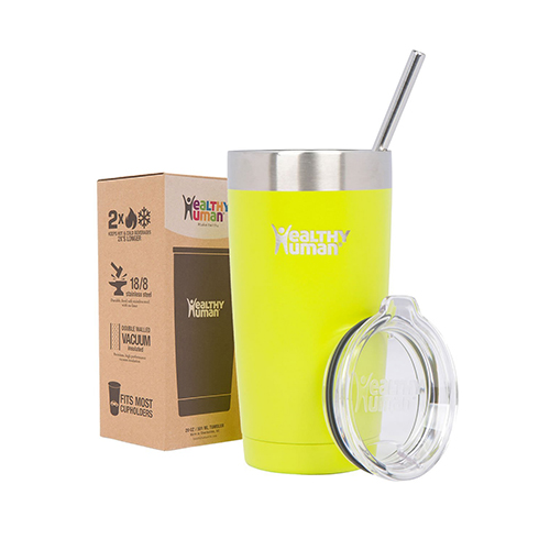 Healthy Human Tumbler with Lid and Straw, 20oz