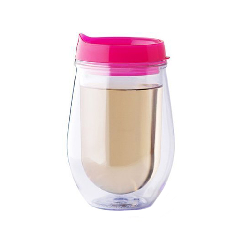 Bev2Go Double Wall Insulated 10 oz Acrylic Tumbler Stemless Wine Glass with Lid