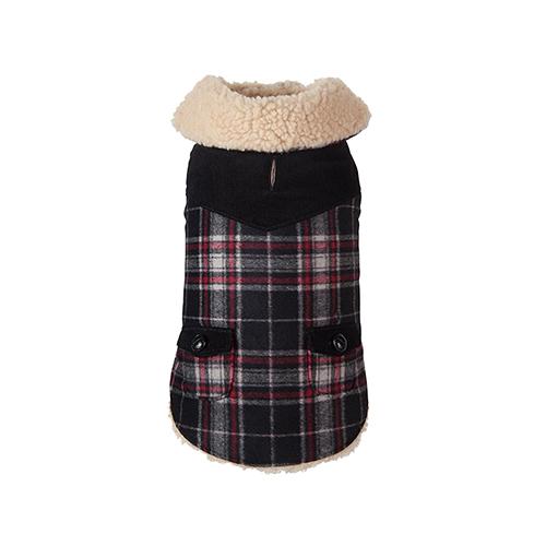 Fab Dog Wool Plaid Shearling Dog Jacket