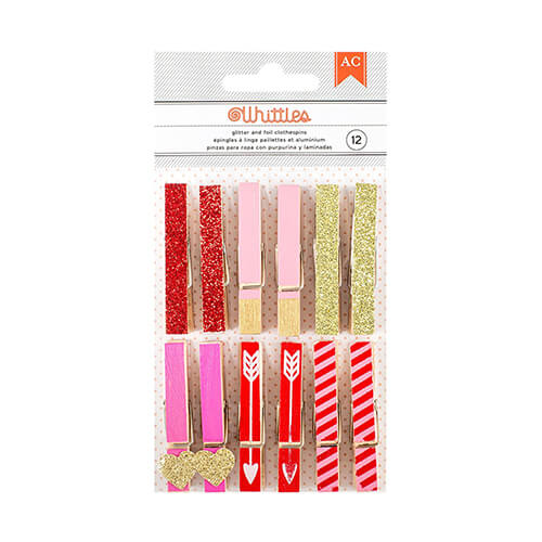 Valentine's Glitter & Foil Clothespins
