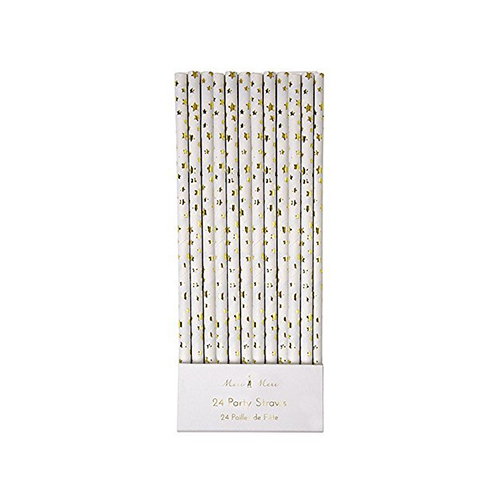 Meri Meri Gold Stars Paper Straws (Set of 24)