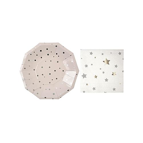 Meri Meri Silver Stars Small Plates and Napkins (8 plates and 16 napkins)