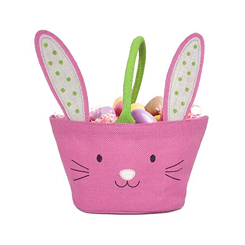 Easter Bunny Jute Treat Bag - Pink